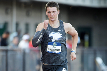 Tim Duckworth in the decathlon at the NCAA Championships (Kirby Lee)