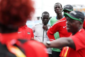 Gai Nyang Tap and Dominic Lokinyomo Lobalu of the Athlete Refugee Team speak to team Kenya during practice prior to the IAAF / BTC World Relays Bahamas 2017 (Getty Images)
