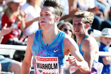 Karsten Warholm on his way to winning the 400m hurdles at the IAAF Diamond League meeting in Stockholm (Giancarlo Colombo)