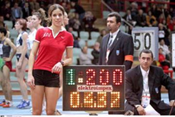 Ekaterini Stefanidi celebrates setting a new World Youth best in Athens (Greek Federation)