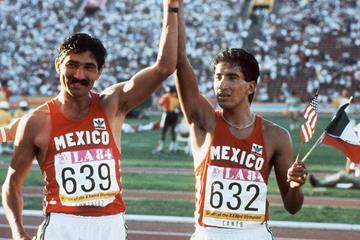 Mexican race walkers Raul Gonzalez (639) and Ernesto Canto (632) at the 1984 Olympic Games (AFP / Getty Images)