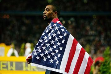 Tyson Gay celebrates his 100m silver medal along with an American National Record of 9.71 seconds (Getty Images)