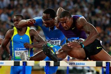 David Oliver defeats Olympic champion Dayron Robles at the Daegu World Challenge meet (Getty Images)