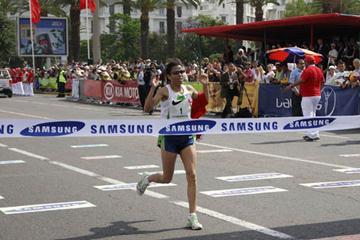 Zhor El Kamch winning the 9th la Course Féminine in Casablanca (Sean Wallace Jones)