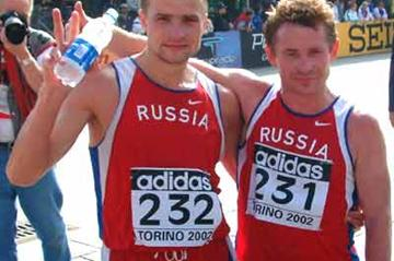 Voyevodin and Skurygin celebrate (IAAF)