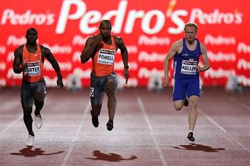 Asafa Powell powers to 9.82 sec in cold of Szczecin, Poland (Marek Biczyk)