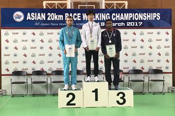 Men's podium at the 2017 Asian 20km Race Walking Championships, from left: runner-up Georgiy Sheiko, winner Kim Hyun-Sub and bronze medallist Irfan Kolothum Thodi (Rahul Pawar (organisers))