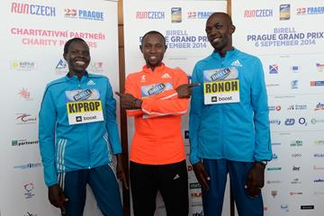 Helah Kiprop, Geoffrey Mutai and Geoffrey Ronoh ahead of the Birell Prague Grand Prix 10km (Organisers)