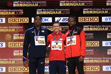 The men's 400m podium at the IAAF World Indoor Championships Birmingham 2018, from left: silver medallist Michael Cherry, winner Pavel Maslak and bronze medallist Deon Lendore. (Getty Images)