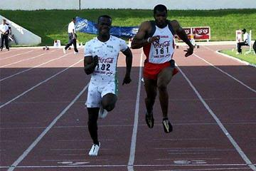 Yahya Saed Al-Kahes of Saudi Arabia (102) wins the Arab 100m championship (Slim Gomri)
