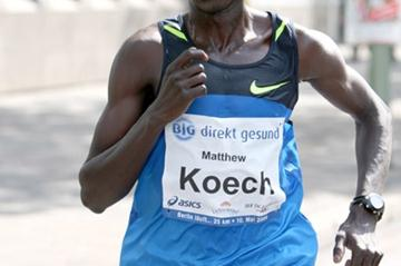 Matthew Koech on his way to victory in the Berlin 25K (Victah Sailer)