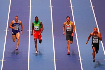 Damian Warner (right) in the heptathlon 60m at the IAAF World Indoor Championships Birmingham 2018 (AFP / Getty Images)