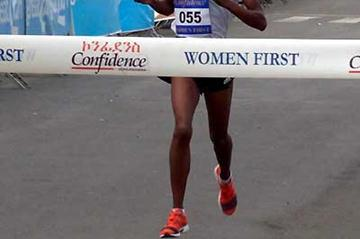 Asselefech Mergia wins the 2007 Confidence Women First 5km run (Nahome Tesfaye)