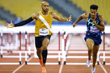 Aaron Mallet wins the 110m hurdles at the Wanda Diamond League meeting in Doha (AFP / Getty Images)