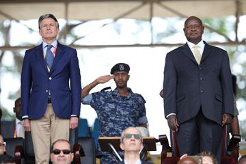 IAAF President Sebastian Coe with President of Uganda Yoweri Museveni at the Kampala 2017 Opening Ceremony (Roger Sedres)