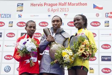 Worknesh Degefa, Gladys Cherono and Isabella Ochichi on the podium at the 2013 Hervis Prague Half Marathon   (Hervis Prague Half Marathon  )