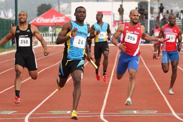 Shavez Hart brings home Bahamas for the men's 4x100m gold at the 2013 Central American & Caribbean Championships  (CONADE (Mexican Sports Institute))