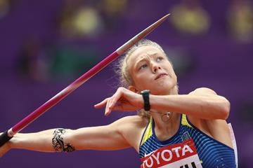 Alina Shukh in the heptathlon javelin at the IAAF World Championships London 2017 (Getty Images)