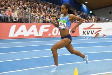Genzebe Dibaba en route to her 3:57:45 run in Karlsruhe (Jiro Mochizuki)