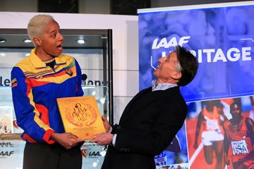 IAAF President Sebastian Coe (r) with two-time world indoor triple jump champion Yulimar Rojas at the IAAF Heritage Collection launch in Birmingham (Getty Images)