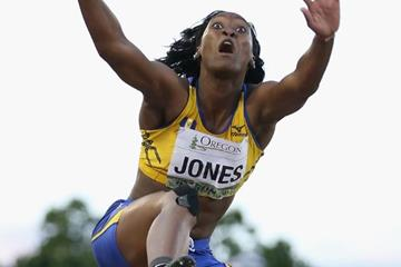 Akela Jones in the long jump at the IAAF World Junior Championships, Oregon 2014 (Getty Images)
