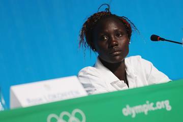Anjelina Nadai Lohalith at a Rio 2016 Olympic Games press conference (Getty Images)