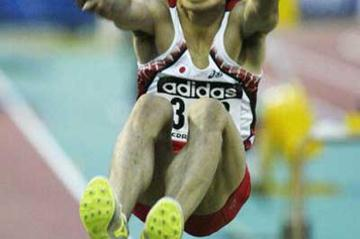 Naohiro Shinada of Japan wins the Long Jump final (Getty Images)