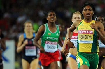 Caster Semenya of South Africa crosses the finish line ahead of Ekaterina Kostetskaya of Russia to win her women's 800 metres semi final  (Getty Images)