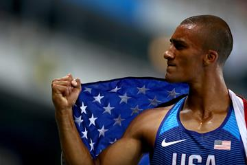 Ashton Eaton after winning the decathlon at the Rio 2016 Olympic Games (Getty Images)