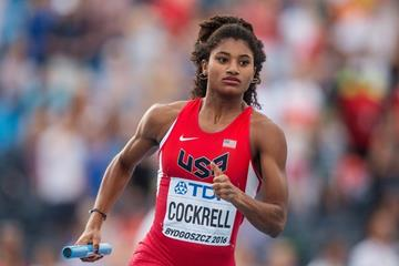 USA's Anna Cockrell in the 4x400m at the IAAF World U20 Championships Bydgoszcz 2016 (Getty Images)