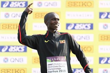 Senior men's winner Joshua Cheptegei on the podium at the IAAF/Mikkeller World Cross Country Championships Aarhus 2019 (Getty Images)