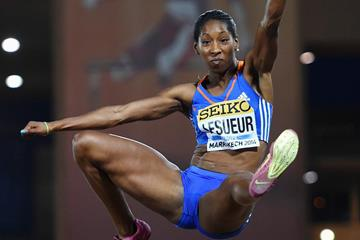 Eloyse Lesueur sails to victory in the long jump at the IAAF Continental Cup, Marrakech 2014 (Getty Images)