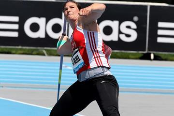 Linda Stahl at the 2014 IAAF Diamond League meeting in New York (Victah Sailer)