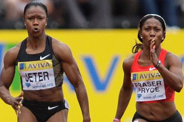 Carmelita Jeter and Shelly-Ann Fraser-Pryce square off in London (Organisers)