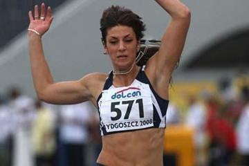 Ivana Spanovic of Serbia on her way to the 2008 World Junior gold medal in the Long Jump (Getty Images)