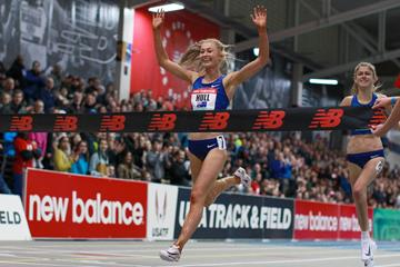 Jessica Hull wins the 1500m at the World Athletics Indoor Tour meeting in Boston (Victah Sailer)