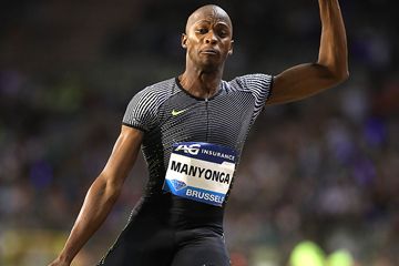 Luvo Manyonga in the long jump at the IAAF Diamond League final in Brussels (Giancarlo Colombo)