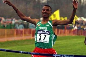 Gebregzabher Gebremariam shown winning the World Junior Cross Country title (Getty Images)