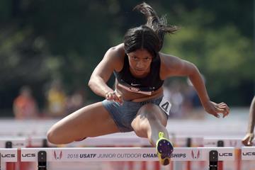 US junior 100m hurdles champion Tia Jones (Kirby Lee)