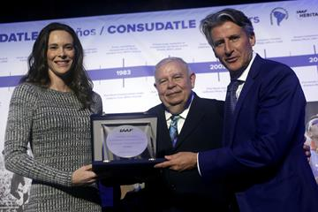 Fabiana Murer receives IAAF Plaque - CONSUDATLE Centennial Dinner, Gran Salon, Panamerican Hotel, Buenos Aires (Getty Images for IAAF)