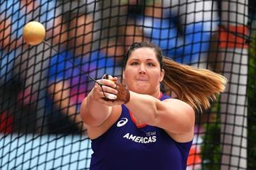 DeAnna Price spins to victory in the Continental Cup hammer throw (Getty Images)
