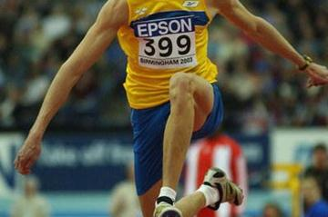 Christian Olsson winning the men's triple jump final (Getty Images)