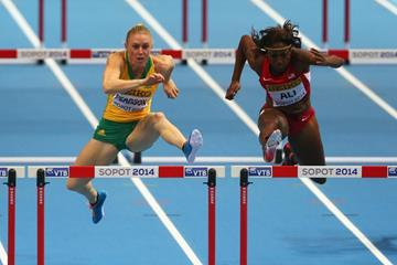 Sally Pearson and Nia Ali in the 60m hurdles final at the 2014 IAAF World Indoor Championships in Sopot (Getty Images)