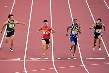 Yoshihide Kiryu and Aska Cambridge in the 100m at the Seiko Grand Prix in Tokyo (Getty Images)
