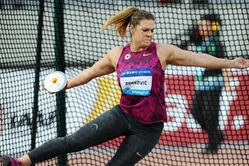 Sandra Perkovic at the 2014 IAAF Diamond League meeting in Shanghai (Errol Anderson)