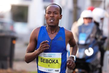 Seboka Negusse en route to her Hannover Marathon victory (PhotoRun.net)