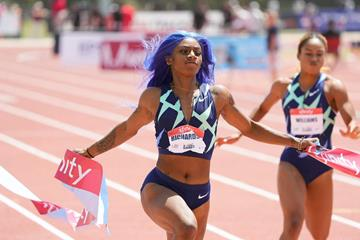 Sha'Carri Richardson wins the 100m at the USATF Golden Games at Mt SAC (Kirby Lee)