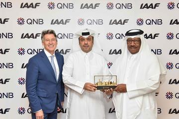 IAAF President Sebastian Coe, Acting Chief Executive Officer at QNB Group, Mr. Abdulla Mubarak Al Khalifa, and Vice President and Director General of the Doha 2019 Local Organising Committee and IAAF Vice President HE Dahlan Al Hammad (Doha 2019 LOC)