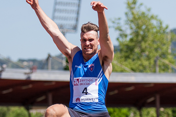 Martin Roe in the decathlon long jump at the IAAF Combined Events Challenge meeting in Florence (Organisers)