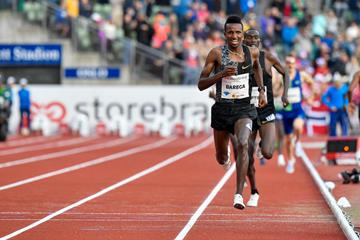 Selemon Barega on his way to winning the 3000m at the IAAF Diamond League meeting in Oslo (Deca Text & Bild)